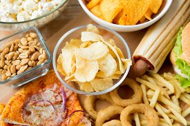 image of carbohydrate  - fast food and unhealthy eating concept  - JPG