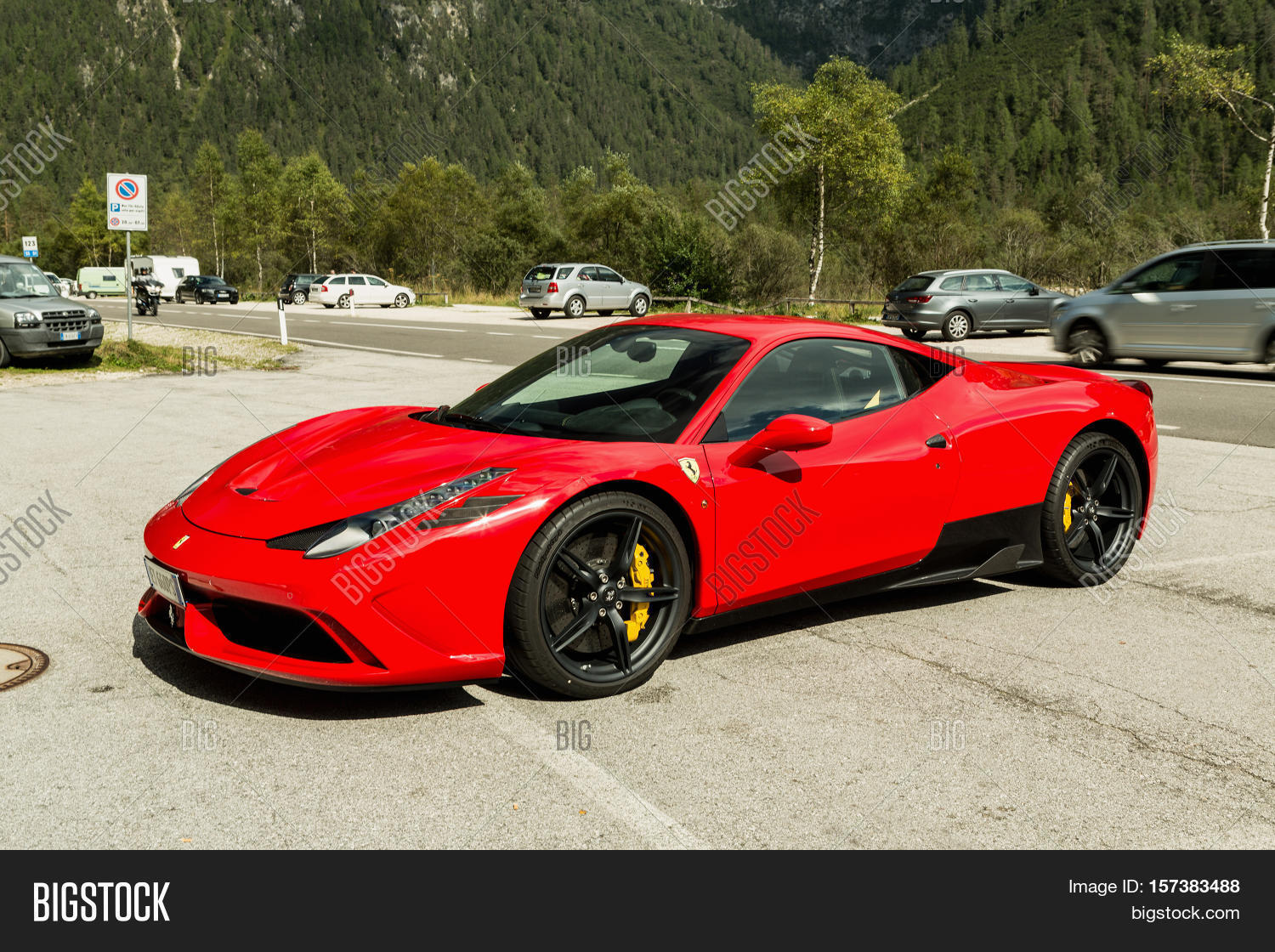 dolomiti lago di landro italy september 10 2016 red ferrari 488 gtb parking on - 2016 Ferrari 458 Replacement
