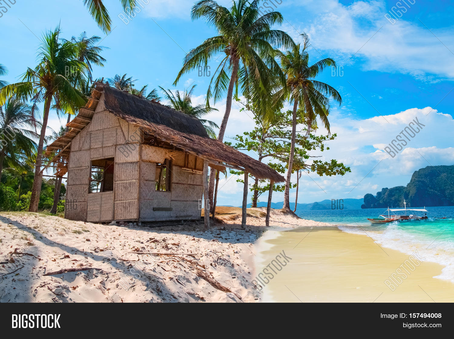 Scenic Tropical Landscape El Nido Palawan Philippines Southeast Asia.  Beautiful Tropical Island With Hut Sandy