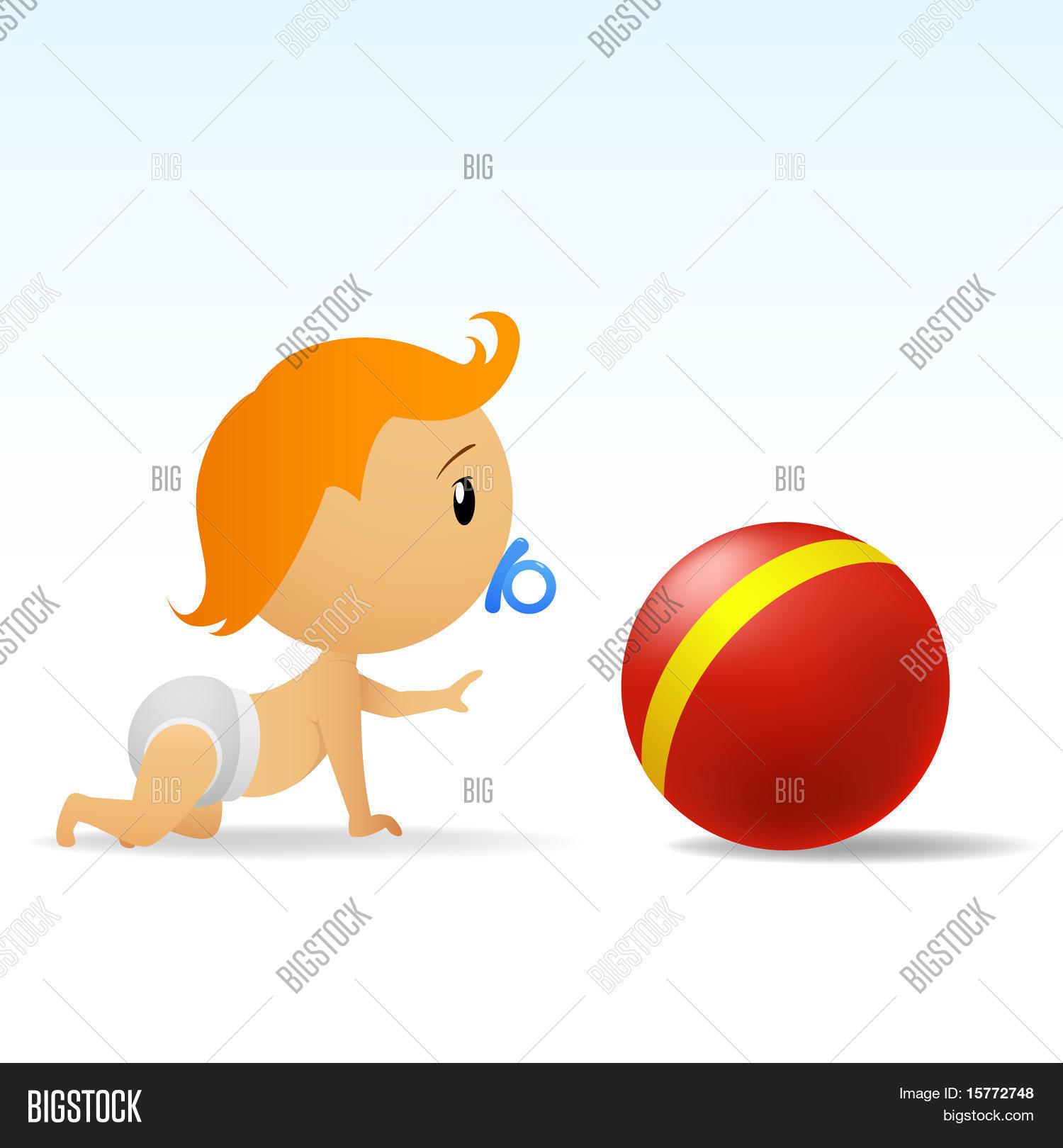 Vectores y fotos en stock de Caricatura lindo bebé gateando a bola ...