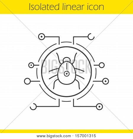 Computer virus linear icon. Thin line illustration. Contour symbol. Malware and spyware bug. Vector isolated outline drawing