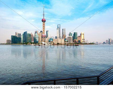 Shanghai city view with oriental pearl tower landmark of Shanghai beside huangpu riv