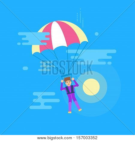 Isolated modern vector illustration of young man flying with a parachute. Screaming man jumping with a parachute. Sun and clouds.