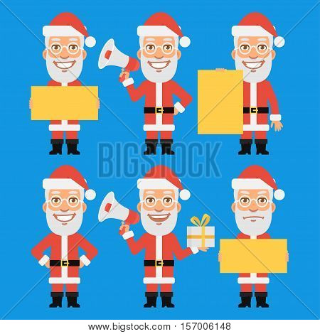 Vector Illustration, Santa Claus Holding Gift Paper Megaphone, Format EPS 8