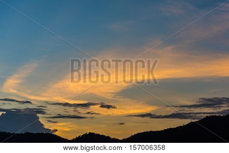 Image Of Mountain And Sunset Sky.