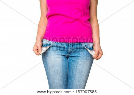 Woman Pulling Out Empty Pockets Isolated On White