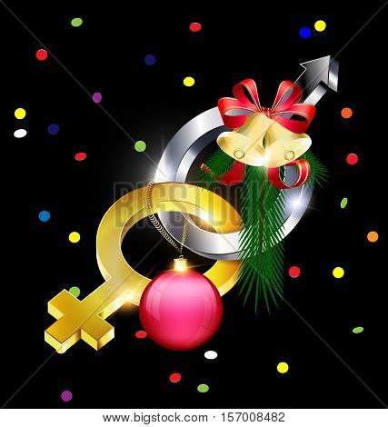 dark background and abstract golden Mirror of Venus and Mars Arrow with Christmas ball, bells and tree