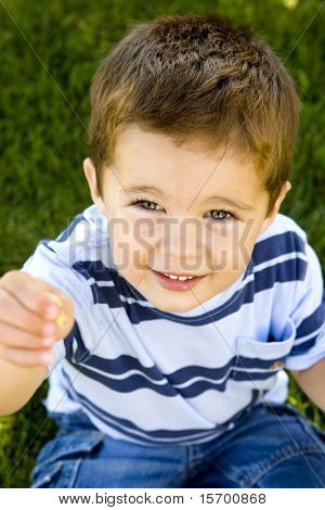 Cute little boy sitting in the grass