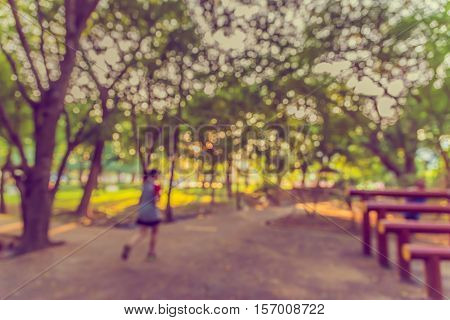 Blur Image Of People Activities In Park .