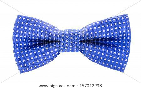 Blue With White Polka Dots Bow Tie
