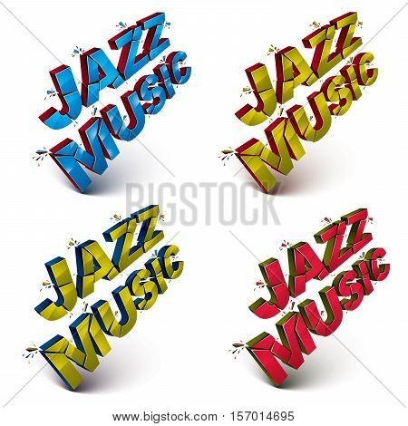Set Of 3D Shattered Vector Jazz Music Words Created With Refractions. Dimensional Inscription With S