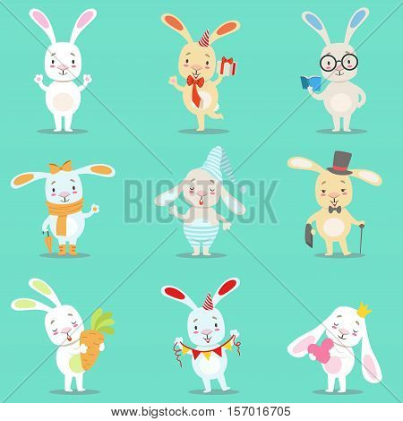 Little Girly Cute White Bunny Cartoon Character Different Activities And Situations Set OF Vector Illustrations. Baby Pet Animals With Objects Emoji Flat Drawing Collection.