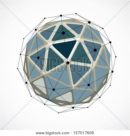 Vector Dimensional Wireframe Low Poly Object, Grayscale Spherical Shape With Black Grid. Technology