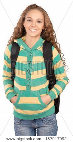 Friendly Young Girl with Rucksack and Hands in Pockets - Isolated