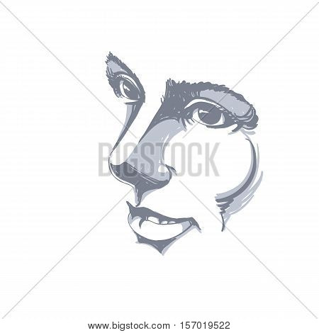 Vector Drawing Of Pensive Woman Thinking About Something. Black And White Portrait Of Attractive Sti