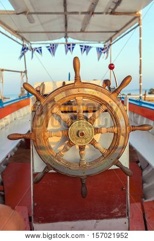 The Old Steering Wheel Of Passenger Boat, Corfu