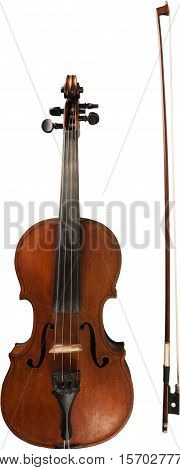 Front View of a Violin with Bow, Isolated