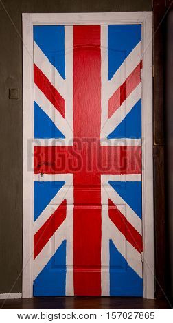 wooden door with a great britain flag