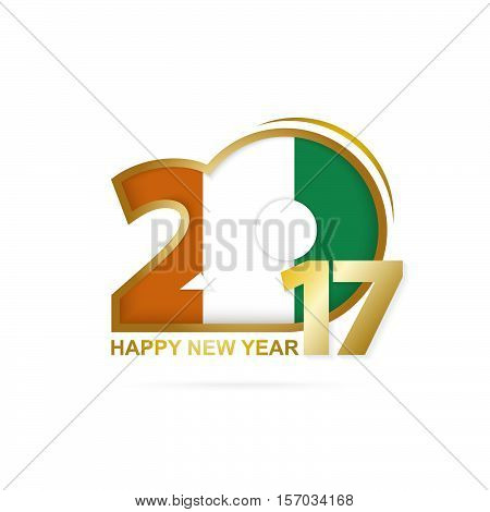 Year 2017 With Ivory Coast Flag Pattern. Happy New Year Design On White Background.