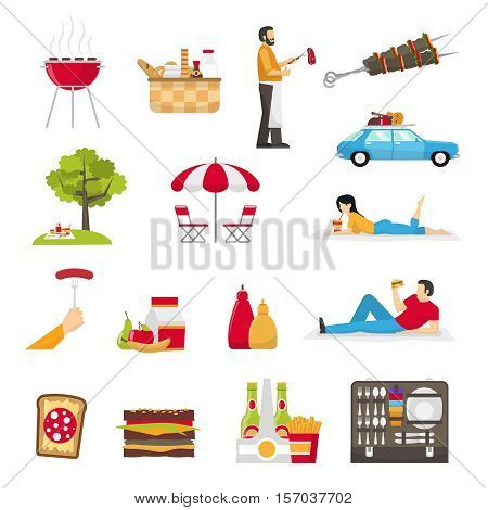 Picnic and barbecue flat icons with skewer basket products cookware set for picnic in suitcase people resting outdoor isolated vector illustration