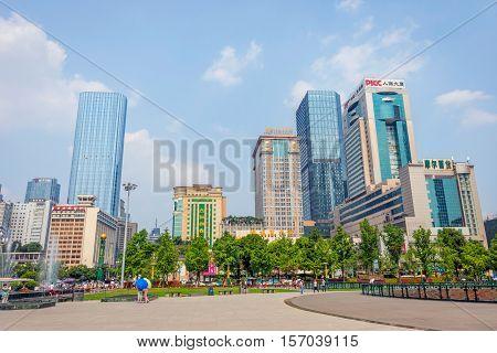 View Over Chengdu Downtown, Sichuan, China