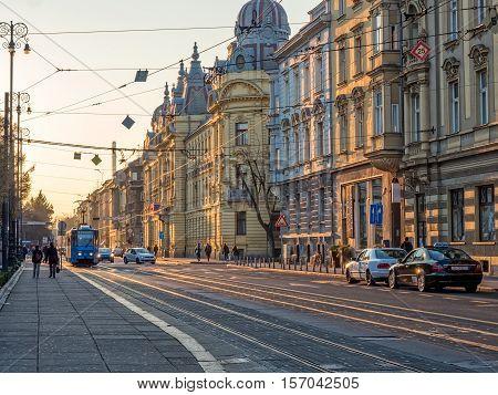 ZAGREB, CROATIA - March 18, 2016: Mihanoviceva street at sunset in the Croatian capital.