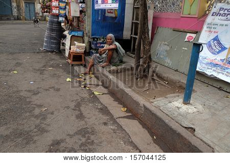 KOLKATA, INDIA - FEBRUARY 09: Beggars in front of Sree Sree Chanua Probhu Temple in Kolkata, West Bengal, India on February 09, 2016.
