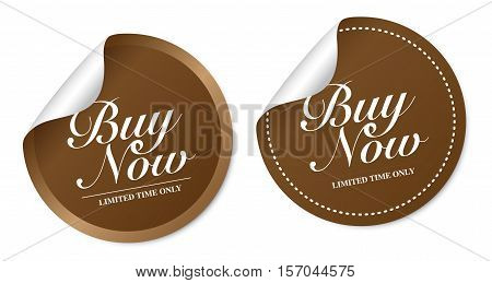 Buy now on brown stickers with soft shadow