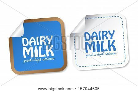 Dairy Milk on white and blue stickers
