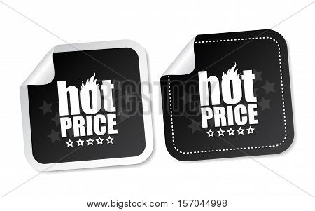 Hot price on black stickers with soft shadow