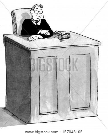 Black and white illustration of a judge in the courtroom.