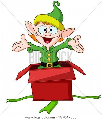 Happy elf popping out of a Christmas gift box