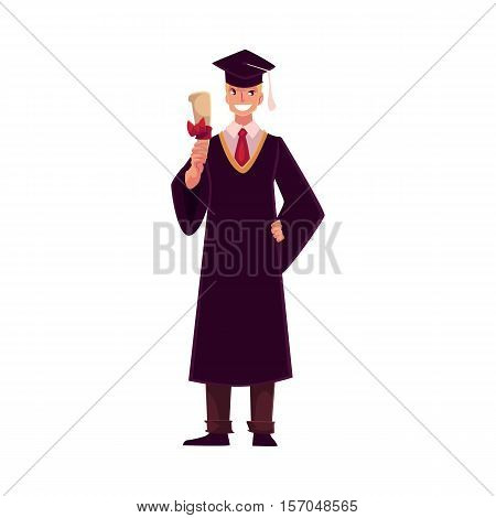 Male student wearing traditional graduation gown and cap and holding diploma, cartoon style illustration isolated on white background. Young man in academic dress graduating from University