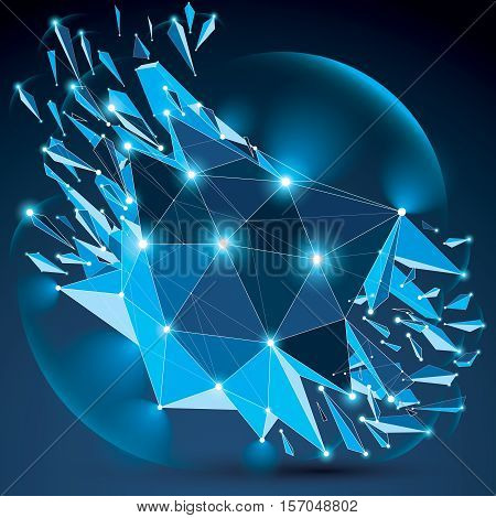 Vector dimensional wireframe blue sparkling object with radiance circles demolished shape with particles and wreckage. 3d white lines mesh element broken into pieces.