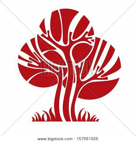 Vector Image Of Single Creative Tree, Nature Concept. Art Symbolic Illustration Of Plant, Forest Ide