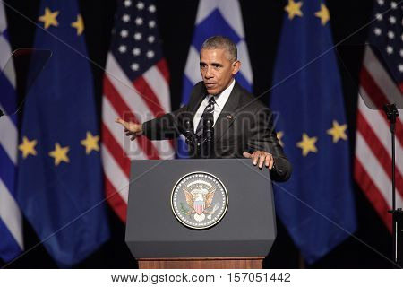President Barack Obama Waves To The Crowd As He Delivers A Speech At The New Opera Of Athens On Wedn