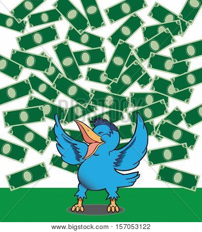 Happy bluebird is celebrating money falling from the sky