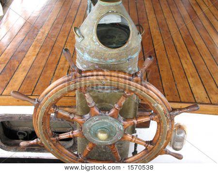 Ships Wheel, Brass Binnacle & Compass