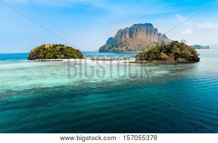 Tropical beach between two islands in the Andaman sea, Thailand