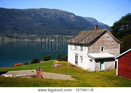 Wood house on the fjord, Sognefjorden, Norway