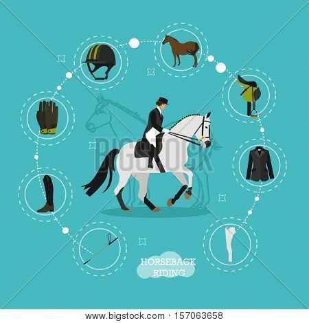 Race horse and lady jockey in center of horse riding equipment infographic items jacket, gloves, breeches, boots, whip, helmet, bridle, saddle. Horseback riding concept flat vector illustration