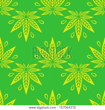 Seamless pattern with of yellow cannabis leaves on a green background.