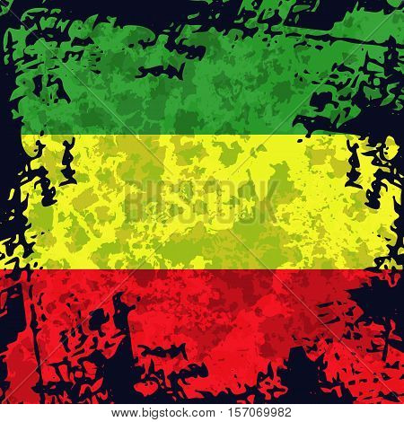 Green, yellow, red rasta flag. Rastafarianism grunge background. Colorful backdrop for decoration work in reggae, rastaman festivals, posters, promotional items.