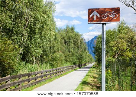 Directional sign on a cycle route in Italy