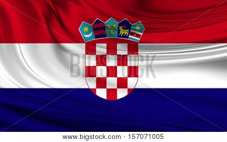 National waving flag of Croatia on a silk drape