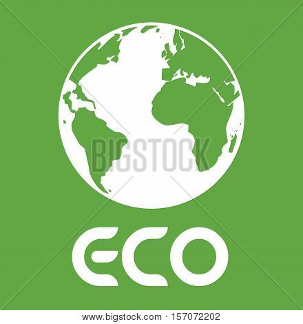 Eco Text With Earth - Planet Earth Eco Energy - Save The Planet Vector Illustration Stock