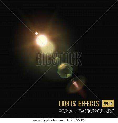 Abstract sun in zenith light effect through lens. Sunlight and bright beam light effect for background, star radiance. For sunset or sunshine, sunrise light effect, flyer background and magic theme