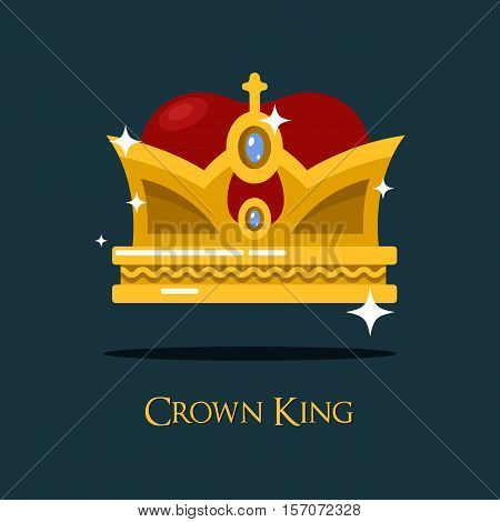Heraldic king or queen majesty golden crown. Vintage emperor head crown as imperial or monarch icon or sign. May be used for medieval and victorian, coronation and kingdom theme, shining crown