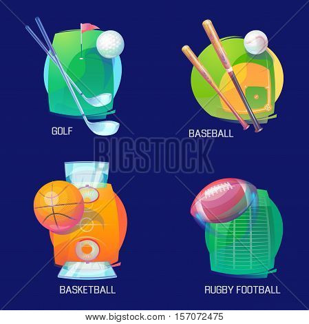 Sport logo of basketball and baseball, golf and rugby. Flying balls with sport equipment like club and bat over pitch and field logos. May be used for sport club banner or competition logo