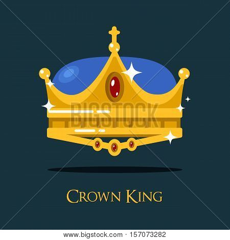 Golden monarch or king crown or pope triada. Retro prince or princess, old style queen crown icon that can be used for historical book or heraldic crown symbol, classic imperial design of crown sign